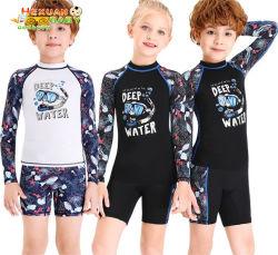 子供の水着のワンピースの短い袖の男の子毎日浜水波のQuick-Dryダイビングのウェットスーツのためのワンピースの水着