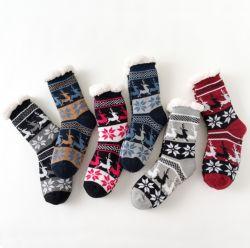 Acrylique OEM Cheap hiver chaud flocon de neige au sol de Noël avec Socks Anti-Skid Silicon