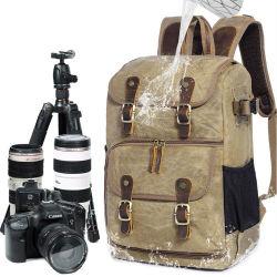 대형 왁스 염색 캔버스 백팩 실외 방수 카메라 백팩