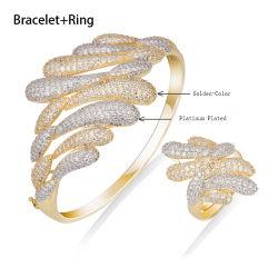 Chapado en oro de lujo mayorista Brazalete de joyería artesanal y el anillo Set