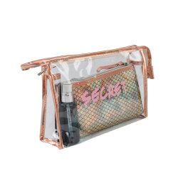 Оптовые цены OEM прозрачных косметический набор подушек безопасности с логотипом Печать пользовательских ПВХ женщин косметический мешок