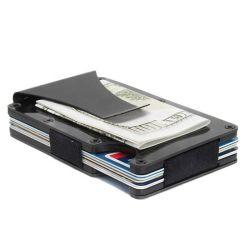 2019 Mejor Venta ultra delgado de fibra de carbono Real RFID tarjeta monedero, Titular de Tarjeta de crédito minimalista en aluminio con Clip dinero