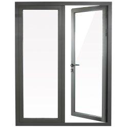 Commerce de gros et de la fenêtre d'aluminium porte à charnière de vitre de porte avec du matériel