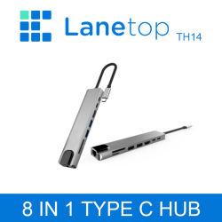 Tipo in-1 USB C di Lanetop 8 del mozzo di C alla consegna di potere Port del lettore di schede del USB 2.0 SD/TF delle porte del USB 3.0 USB-C per MacBook Pro