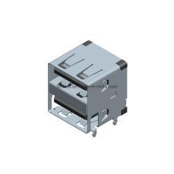 USB 2.0 Double-Deck Conector Electrónico para Montaje en PCB
