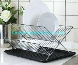 Cuisine forme pliable en acier x 2-Tier plat étagère de rack de séchage avec plaque de purge en plastique Kfd10033