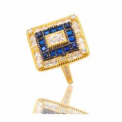 Het goud plateerde Echte Zilveren Ring met de Gecreërde Uitstekende Juwelen van de Saffier voor de Levering voor doorverkoop van Vrouwen