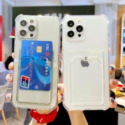 세미, 투명 카드 패키지 전화 케이스, 긁힘 방지 충격 흡수 소프트 TPU 모바일 iPhone용 전화 케이스 케이스 11/12/13/X/Xs/XR/PRO/PRO Max/Mini, 투명 홀더