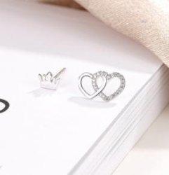 El verano de amor Ab aretes de plata esterlina de la corona de la personalidad de la versión coreana S925 Aretes de Plata Esterlina temperamento simple cabello Accesorios