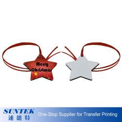 MDF van het Ornament van Kerstmis van de Foto van de Leverancier van China de Houten het Hangen van de Sublimatie Lege Vorm van de Ster van het Ornament