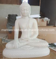 Jardín de piedra de mármol blanco de mármol escultura estatuas de Buda Buda