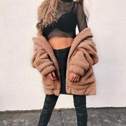 Camisa Casual Mulheres 2020 Outono e Inverno de nova união e American Faux Fur Plush Casaco solto
