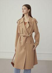 2021 Fashion Design élégant de la femme nouvelle du Printemps de l'automne Outwear lâche Korean Style long manteau de vent Big encoche Loisirs Lady's Profession usure extérieure