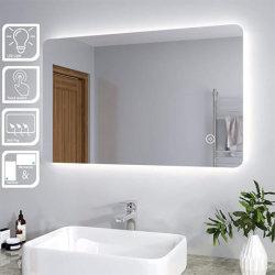 LED de iluminação de Espelho Banho 800 X 600 mm espelho de maquilhagem com iluminação traseira montada na parede China Fabricante