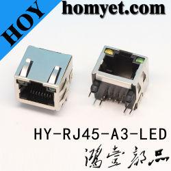 De professionele Contactdoos van PCB van het Geval van het Metaal van de Fabrikant RJ45 RJ45 met (hy-rj45-a3-GELEIDE) leiden
