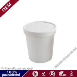 Custom печати одноразовые разлагаемые белой крафт-бумаги суп салат стакан с крышкой