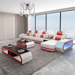 Sala de estar moderna Leisure com Sofá LED Canto Seccional em Couro genuíno Mobiliário para casa