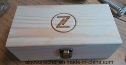 Rectángulo de color liso personalizado pequeña caja de madera maciza con tapa superior