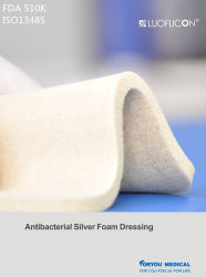 FDA 510k Antibacterial/Antimicrobial Silver Foam Dressing für Wound Care