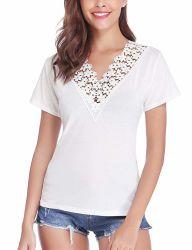 Women's col V DE LA DENTELLE T-Shirt à manches courtes Tee-shirt décontracté plissé Tops
