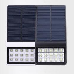 Белый светодиод горит зеленым светом на стене солнечной энергии