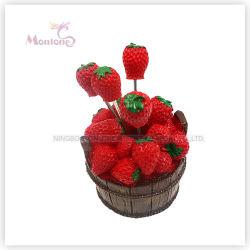 Promoção de plástico de qualidade alimentar Design de Morango Frutas Frutas Garfos Pick