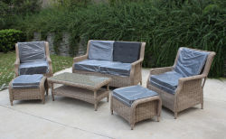 Jardín muebles de mimbre Rattan salón sofá estilo Europa