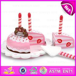 Candles、Children W10b136のためのHot Sale Wooden Toy Birthday Cakeの子供Wooden Birthday Cake Cutting Toy