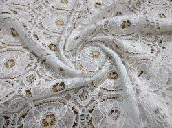Weiße Baumwollstickerei-Spitze für Abendkleid