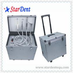 Portátil Oilless sillón dental con la biela y rueda de la unidad de equipo dental