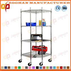 Bureau de la chambre Cuisine Chrome à roues de fil d'étagères de stockage (Zhw150)