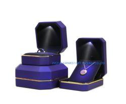 Hellblauer Schmucksache-Geschenk-Kasten-gesetzter Schmucksache-Kasten mit LED-hellem Samt-Schaumgummi innerhalb der guten Qualität