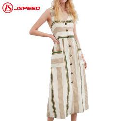 Повседневный летний урожай без рукавов с чередованием женщин постельное белье платье с широкими