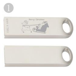 Lecteur Flash USB compact avec couvercle En acier inoxydable et de taille mini
