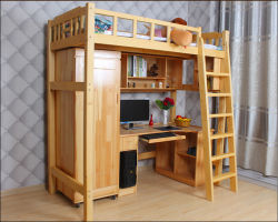 Comercio al por mayor literas con escritorio librero de la Universidad de la Escuela de camas Dormitorio Muebles de dormitorio de la escuela