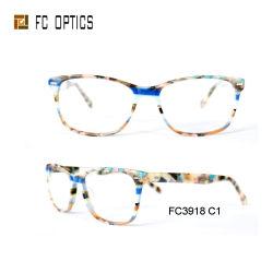 Um estilo mais recente de pedras coloridas óculos óculos de acetato de estrutura óptica