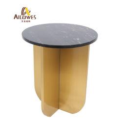 現代ホーム余暇の家具の円形の大理石の上のステンレス鋼の側面の端のコーヒーテーブル