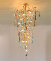 ホテルのロビーのための贅沢な水晶銅の天井の吊り下げ式の軽い真鍮のシャンデリアは、カスタマイズされて受け入れる