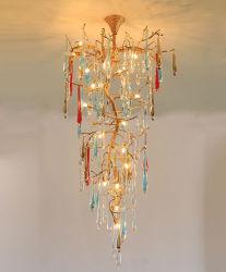 Moderne kupferne Leuchter-Lampen-Kristallbeleuchtung für Hotel-Projekt, nehmen angepasst an