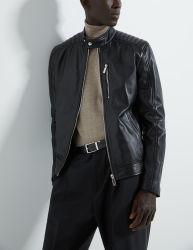 남자를 위한 Retro 작풍 검정 Varsity 자전거 타는 사람 기관자전차 가짜 PU 가죽 재킷