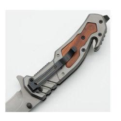 La apertura de la cuchilla con Clip disyuntor de vidrio de 4.5 pulgadas cerrado 440 Caoba de hoja de acero inoxidable con mango de acero y la aleta de la utilidad de Cuchillo táctico