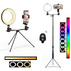 """6 """" RVB bague réglable de la lumière, Selfie LED éclairage annulaire avec trépied réglable le statif et le support de téléphone cellulaire Kit d'éclairage pour le maquillage Self-Portrait Photographie Vidéo"""