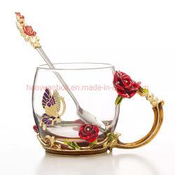 [هيغقوليتي] زخرفيّة زجاجيّة فنجان مينا زجاجيّة زهرة [تا كب]
