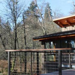 Residencial en el exterior del pasamanos de madera de cable de acero inoxidable Barandilla con pasamano Post Plaza