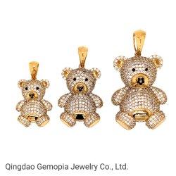 14K純金の方法宝石類の明確なCZのセーターのネックレスが付いているかわいいテディー・ベアのペンダント