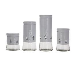 Grau höhlen heraus beschichtetes Metall aus und Glas-Kanister mit luftdichtem Kappe-Stellte von 4 - Nahrungsmittelbehälter - Glasspeichergläsern für Tee-Zuckerkaffee und -teigwaren ein