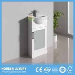 PVC ou material MDF grande barriga de Tinta Branca da bacia da porta de vidro fosco novas e modernas Floor-Standing armário de banheiro