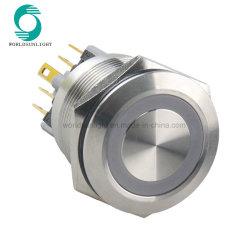 30 mm 12 V blu colore o-ring luce LED illuminata testa piatta Interruttore di blocco con pulsante in metallo inox autobloccante
