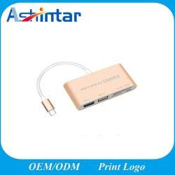 MacBook 컴퓨터를 청구하는 Dp를 가진 1가지의 USB 3.1 유형 C 허브에 대하여 C에서 USB 접합기 5를 타자를 치십시오