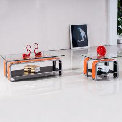 Vidrio templado todos coinciden con mesa de café con Metal Leg 3066